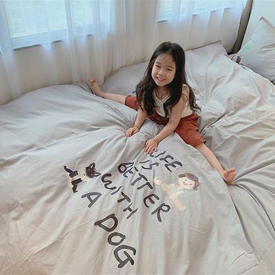2020新款韩国治愈系卡通绣花水洗棉四件套---模特图 1.5m床单款四件套 马克和他的小狗