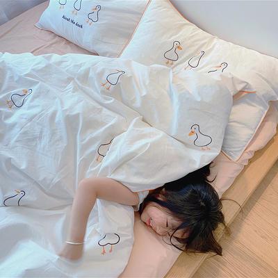 2020新款韩国治愈系卡通绣花水洗棉四件套---模特图 1.5m床单款四件套 三只小鸭