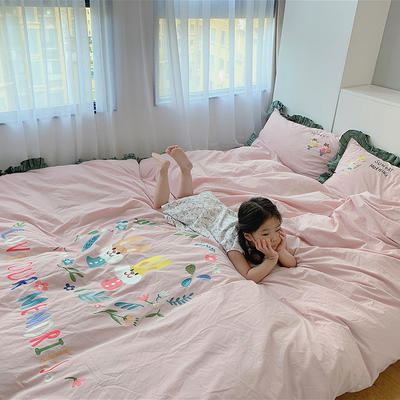 2020新款韩国治愈系卡通绣花水洗棉四件套---模特图 1.2m床单款四件套 松鼠姐妹淘