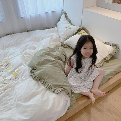 2020新款韩国治愈系卡通绣花水洗棉四件套---模特图 1.5m床单款四件套 向日葵女孩