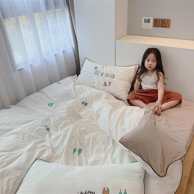 2020新款韩国治愈系卡通绣花水洗棉四件套---模特图 1.5m床单款四件套 幸运小熊