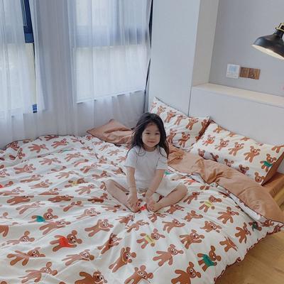 2020新款60s韩系小清新系列四件套套件 1.5m床单款四件套 积木熊