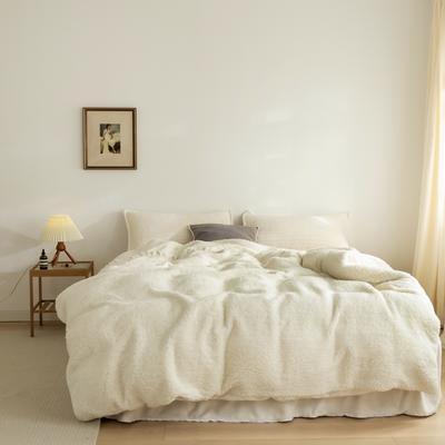 2020新款韩国ins羊驼绒氛围感四件套-影棚图 1.8m床裙款四件套 仙女白