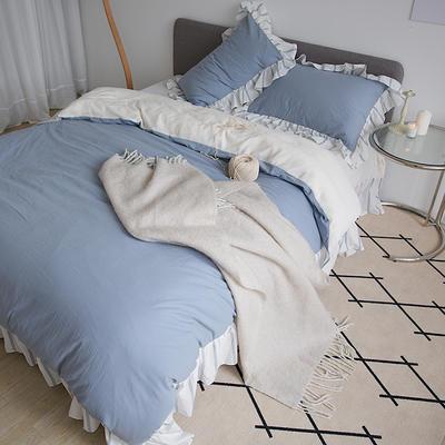 2020新款浪漫海盐系列四件套-绒版 1.8m床单款四件套 蓝色催眠曲