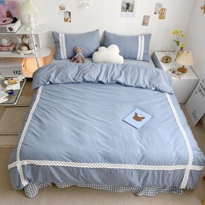 2021新款40支水洗棉四件套小世界系列—实拍图1 1.8m床单款四件套 奶昔蓝