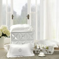 一岚家居 60s天丝枕头白色蕾丝抱枕纯色靠垫 30X50CM 白色天丝枕头