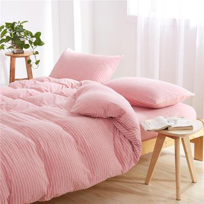 吉家 全棉针织棉四件套三件套床单床笠款 1.2m床床苙款 粉白细条