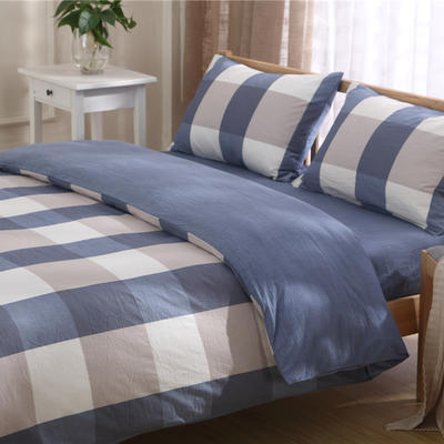 吉家 全棉色织水洗棉三件套 四件套 2 m 床床单款 大格 蓝灰