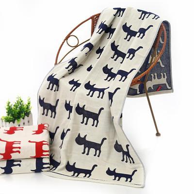 全棉纱布系列 田园猫 夏被 盖毯 红