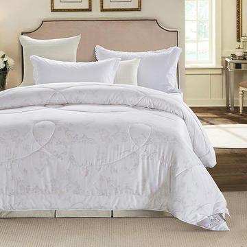 全棉长绒棉贡缎印花竹炭纤维棉被 春秋冬被 填充物:50%棉+50%竹炭纤维