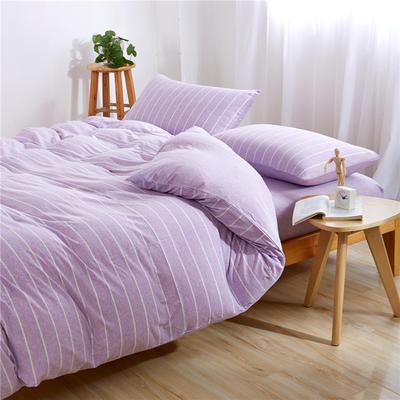 吉家 全棉针织棉四件套三件套床单床笠款 1.2m床床单款 紫荷宽条