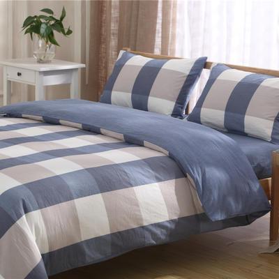 全棉水洗棉三件套 四件套 1.2m(4英尺)床床单款 蓝 大格