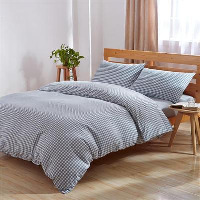 吉家 全棉色织水洗棉三件套 四件套 2 m 床床单款 小格 天蓝