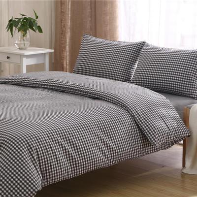 全棉水洗棉三件套 四件套 1.2m(4 英尺)床床笠款 黑白 小格