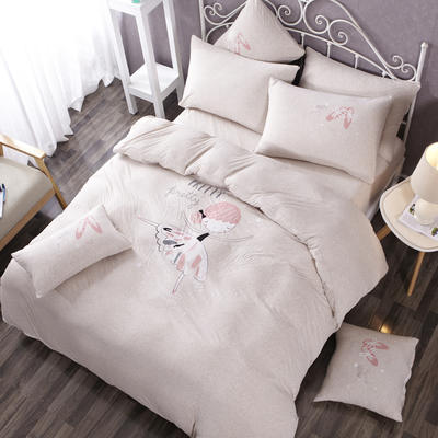 吉家 针织棉-luck专版花型芭蕾女孩 艾米-灰 12m(4英尺)床床笠款 艾米 灰