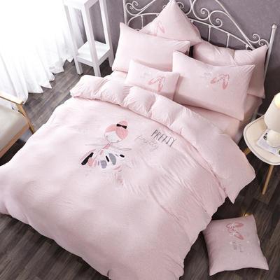 针织棉-luck专版花型芭蕾女孩 1.8m(6英尺)床床笠款 艾莉丝 粉