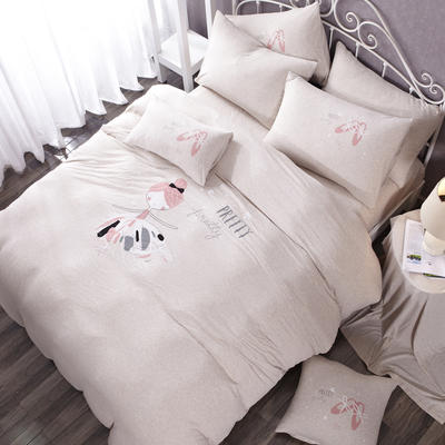 针织棉-luck专版花型芭蕾女孩 1.2m(4英尺)床床笠款 艾莉丝 灰