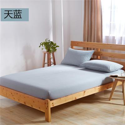 吉家(总) 全棉色织水洗棉床笠 床单 床单180cmx230cm 天蓝