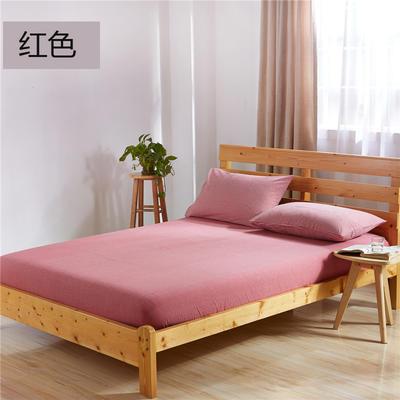 吉家(总) 全棉色织水洗棉床笠 床单 床笠150cmx200cm 红色