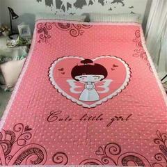 全棉四层纱布卡哇伊提花盖毯 150cmX(范围200-220)cm 天使 粉