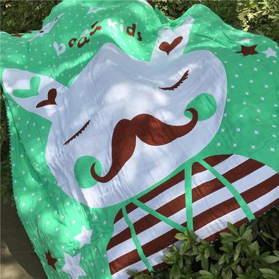 全棉四层纱布卡哇伊提花盖毯 150cmX(范围200-220)cm 兔爷 绿