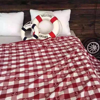 全棉纱布 地中海双面提花 盖毯 220x240cm 红