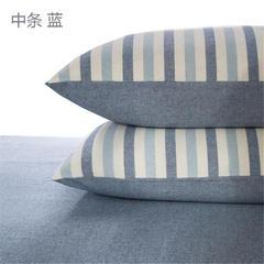 吉家 水洗棉枕套一对 48cmX74cm 中条蓝