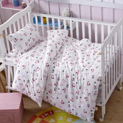 吉家 全棉加厚针织印花婴幼童床品套件 均码 粉船
