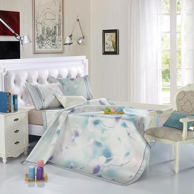 可水洗600D专利提花亚麻质感恒温软席 风情假日蓝 1.5m(5英尺)床 风情假日蓝