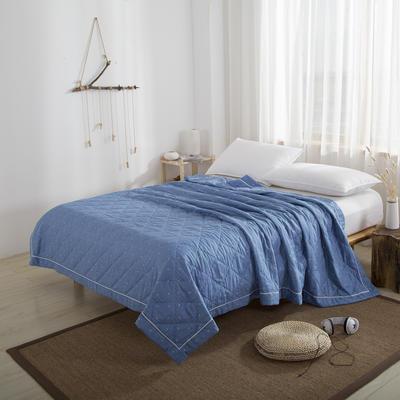 吉家 双层纱布工艺款元绒棉夏凉被空调被 200X230cm 深蓝印花