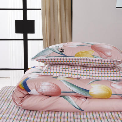 2020新款-全棉印花四件套 1.5m床单款四件套 郁金香小兔