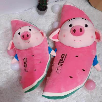 2020新款水果猪小屁/只长条抱枕毛绒玩具抱枕靠枕 50cm 红西瓜小猪