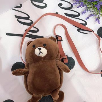 2020新款抖音快手网红-牛油果-布朗熊小包包/只 毛绒玩具