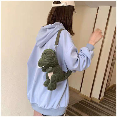 2020新款抖音快手网红-萌萌小恐龙小包包/只 抱枕靠枕毛绒玩具 30cm 墨绿