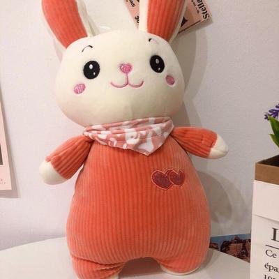 2020新款抱枕中号系列/只 毛绒玩具抱枕靠枕 约40cm 围巾条纹兔-橘40cm