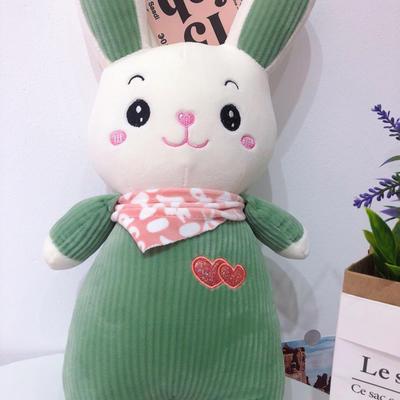 2020新款抱枕中号系列/只 毛绒玩具抱枕靠枕 约40cm 围巾条纹兔-绿40cm