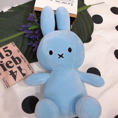 2020新款抱枕小号系列/只  毛绒玩具抱枕靠枕 约30cm 抽条条纹兔-蓝35cm