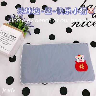 2020新款水洗棉儿童全小米壳枕头枕芯30*50cm/只 球球边-蓝色快乐小猪