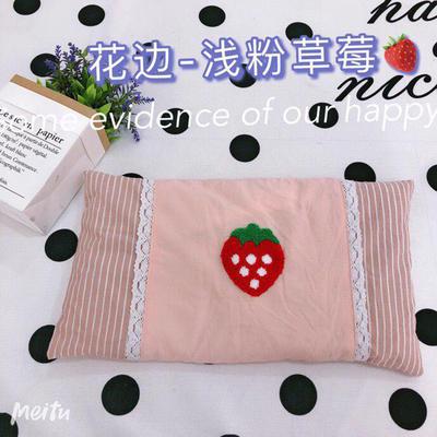 2020新款水洗棉儿童全小米壳枕头枕芯30*50cm/只 双拼花边-浅粉草莓