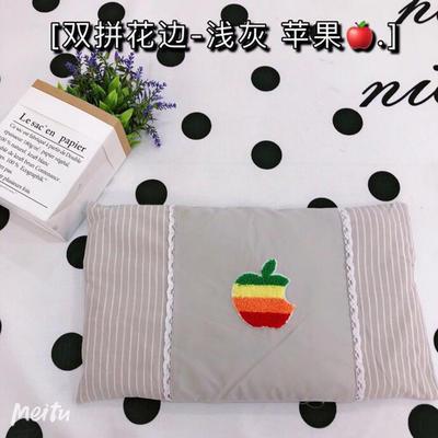 2020新款水洗棉儿童全小米壳枕头枕芯30*50cm/只 双拼花边-浅灰苹果