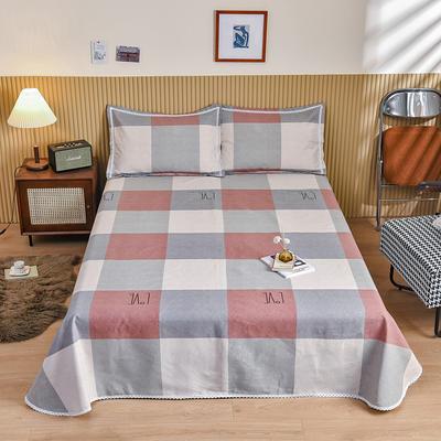 2021新款纯棉老粗布三件套床单粗布凉席全棉被单 230*250cm凉席三件套 LOVE