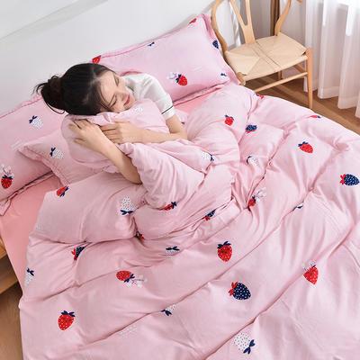 2020新款水洗棉四件套 1.5m床单款四件套 草莓