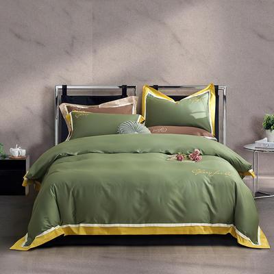 2020新款-60拼色长绒棉四件套 1.8m床单款四件套 贵族绿