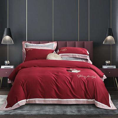2020新款-60拼色长绒棉四件套 1.8m床单款四件套 玫瑰红