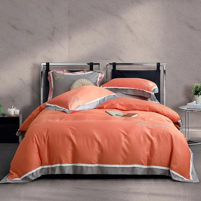 2020新款-60拼色长绒棉四件套 2.0m床单款四件套 夏日橙