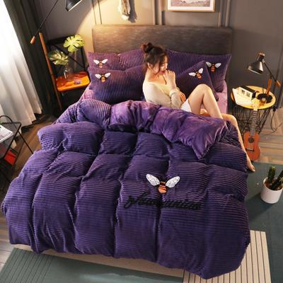 2020新款-魔法绒四件套 1.5m床单款四件套 小蜜蜂葡萄紫