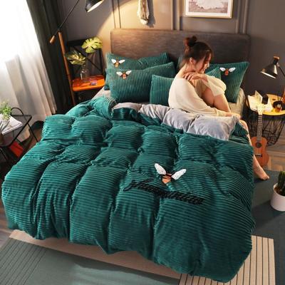 2020新款-魔法绒四件套 1.5m床单款四件套 小蜜蜂松石绿