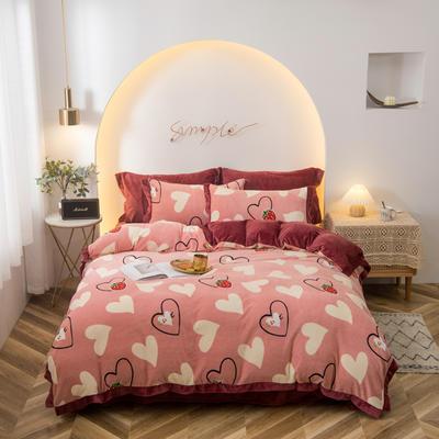 2020新款-牛奶绒印花四件套 1.8m床单款四件套 爱心草莓