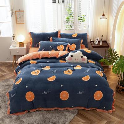 2020新款-牛奶绒印花四件套 1.5m床单款四件套 橙心橙意