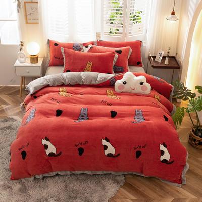 2020新款-牛奶绒印花四件套 1.5m床单款四件套 猫咪庭院-红